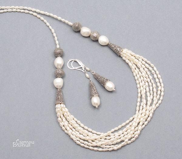 браслет серьги длинные бусы ожерелье натуральный белый жемчуг серебро камни авторские украшения