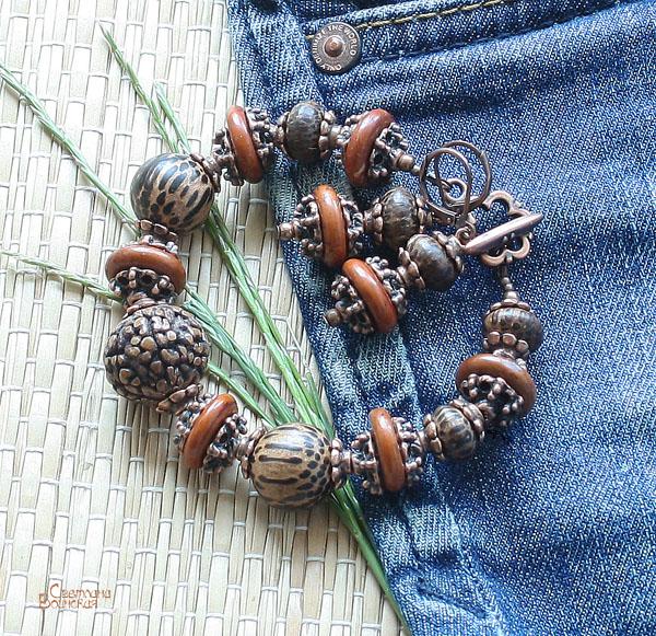 браслет ожерелье из натуральный агат бычий глаз длинные бусы комплект авторские украшения камни