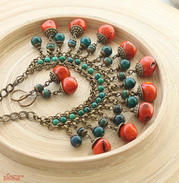 ожерелье из натурального коралла хризоколла бусы комплект авторские украшения камни