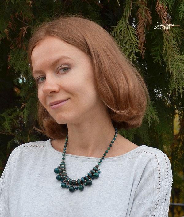 ожерелье из натурального хризоколла бусы комплект авторские украшения камни