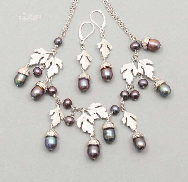 браслет серьги длинные бусы ожерелье натуральный серый жемчуг камни авторские украшения