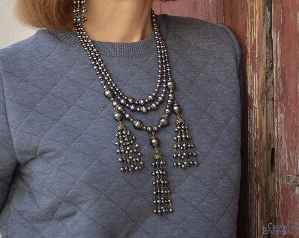 ожерелье из натурального серого речного жемчуга бусы комплект авторские украшения
