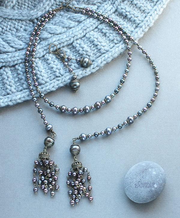 браслет ожерелье из натурального серого речного жемчуга длинные бусы комплект авторские украшения