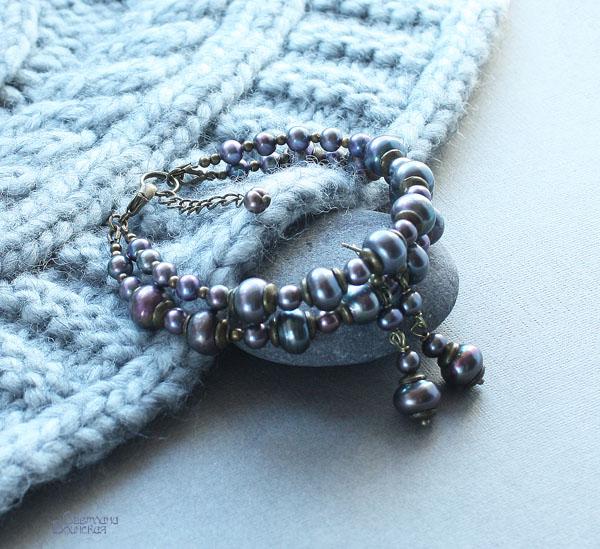 ожерелье из натурального серого речного жемчуга бусы комплект авторские украшения браслет