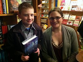 My son with author Meagan Spooner (Skylark) at Fountain Bookstore