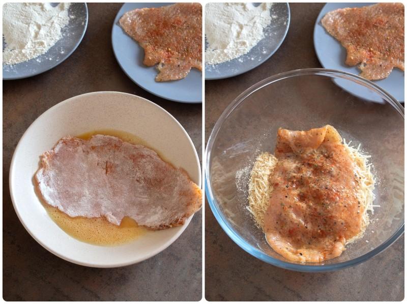 Куриный шницель в панировке из пармезана