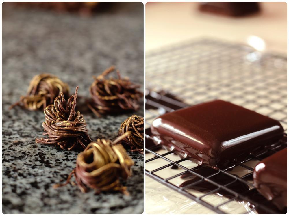 Шоколадный декор                                                                           Покрытие глазурью муссовой заготовки