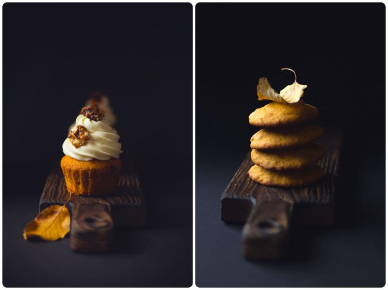 Тыквенные капкейки с карамелью и ганашем                          Тыквенное печенье