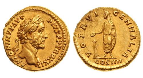 Римская империя, Антонин Пий, 138-161 годы, аурей