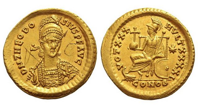 Римская империя, Феодосий II, 402-450 годы, солид у
