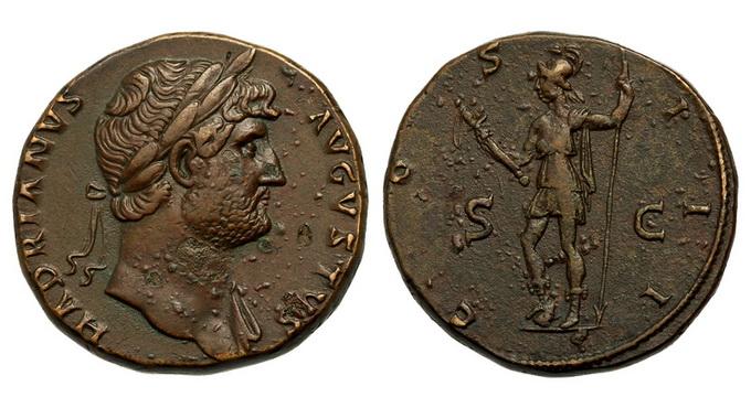 Римская империя, Адриан, 117-138 годы, сестерций