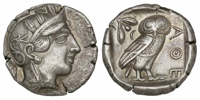 Аттика, Афины, 449-404 годы до Р.Х., тетрадрахма 2