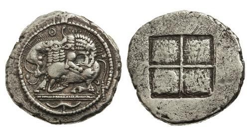 Македония, Аканф, 525-470 годы до Р.Х., тетрадрахма
