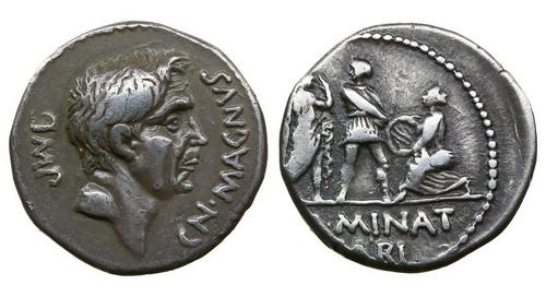 Римская республика, Помпей Великий, 49-48 годы до Р.Х., денарий
