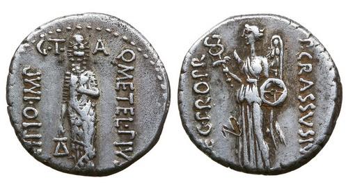 Римская республика, Кв.Цецилий Метелл Пий Сципион, 47-46 год до Р.Х., денарий