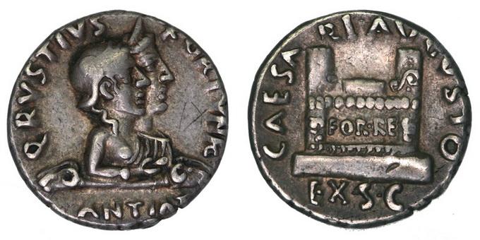Римская империя, Октавиан Август, Кв. Рустий, 19-16 год до Р.Х., денарий