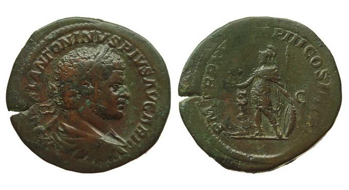 Римская империя, Каракалла, 198-217 годы, сестерций