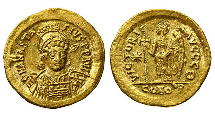 Византийская империя, Анастасий I, 491-518 годы, солид у