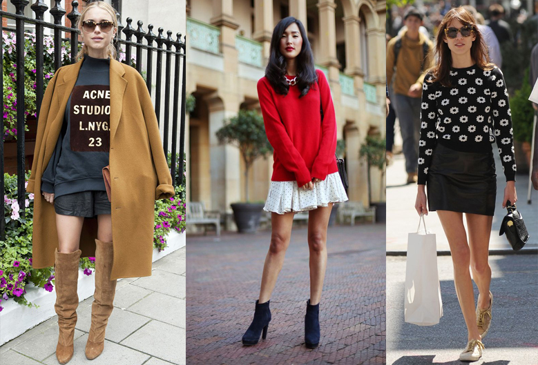 how-to-wear-sweatshirt-with-mini-skirt