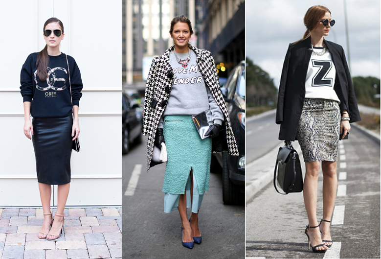 how-to-wear-sweatshirt-with-pencil-skirt