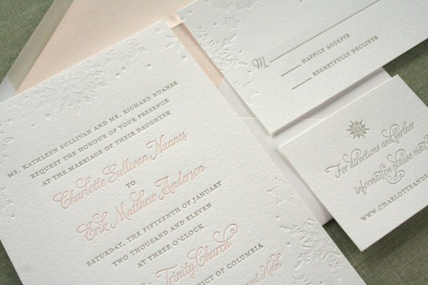 Pink-Letterpress-Winter-Snowflake-Wedding-Invitations