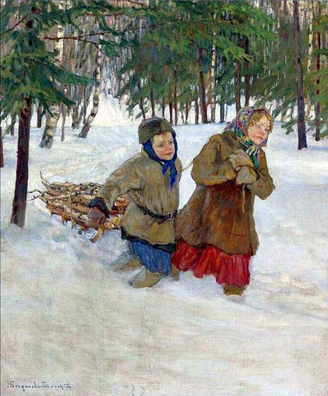 Дети везут дрова зимой по снегу 1886