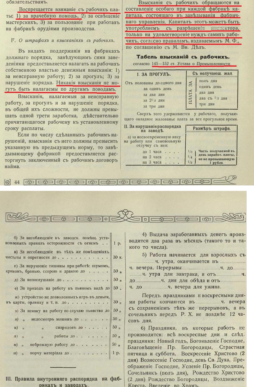Взыскания с рабочих на фабриках и заводах Российской Империи.
