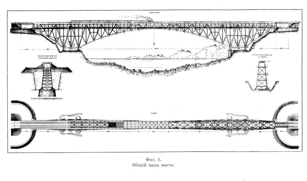 Общий вид моста из книги инженера Толчина.