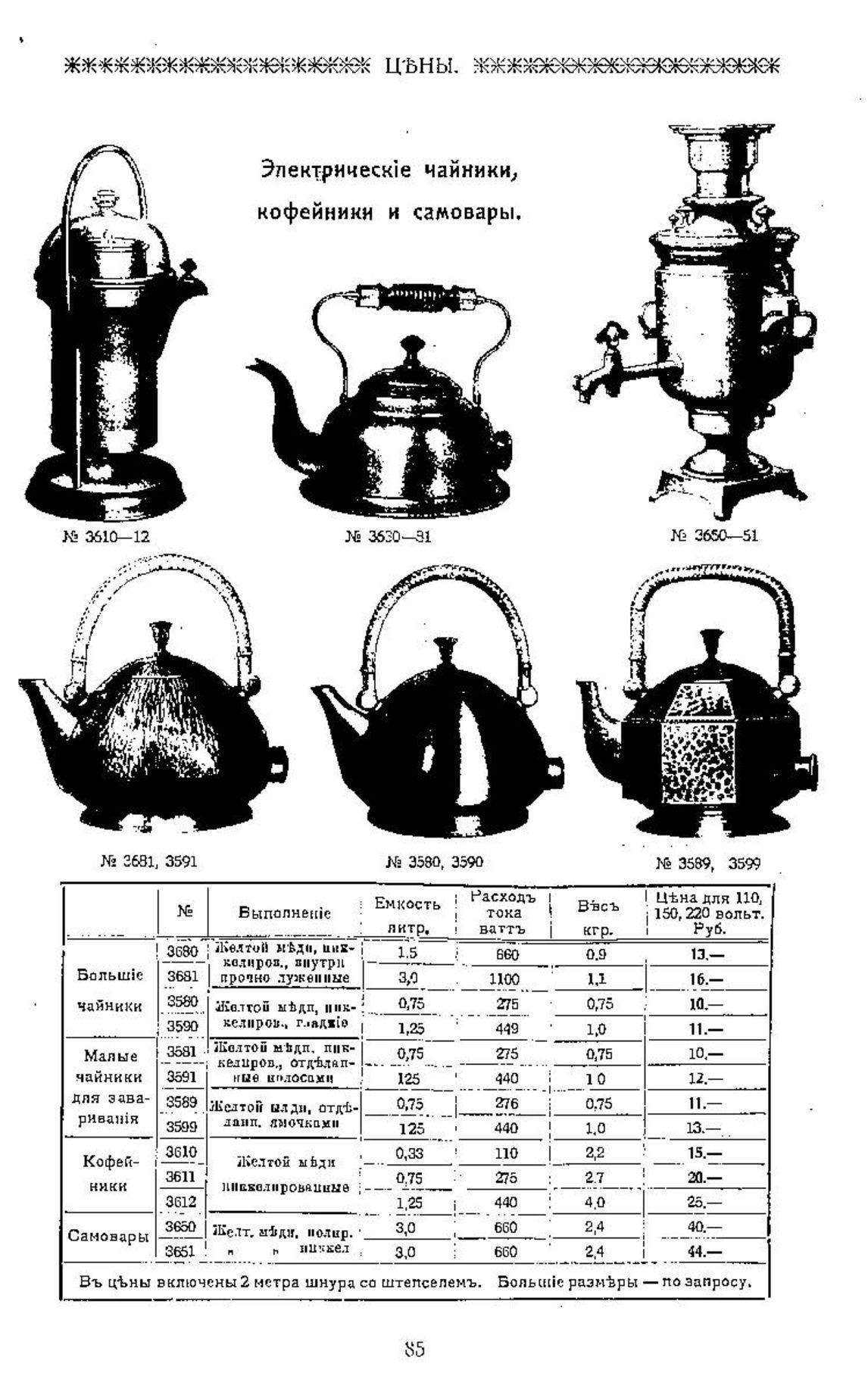 Цена на электрочайники и самовары в 1913г.