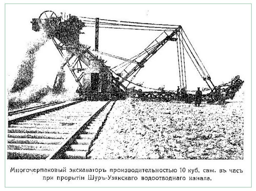 Многочерпаковый экскаватор 10 куб.саженей( 97 м3) в час. Голодная степь 1913г.