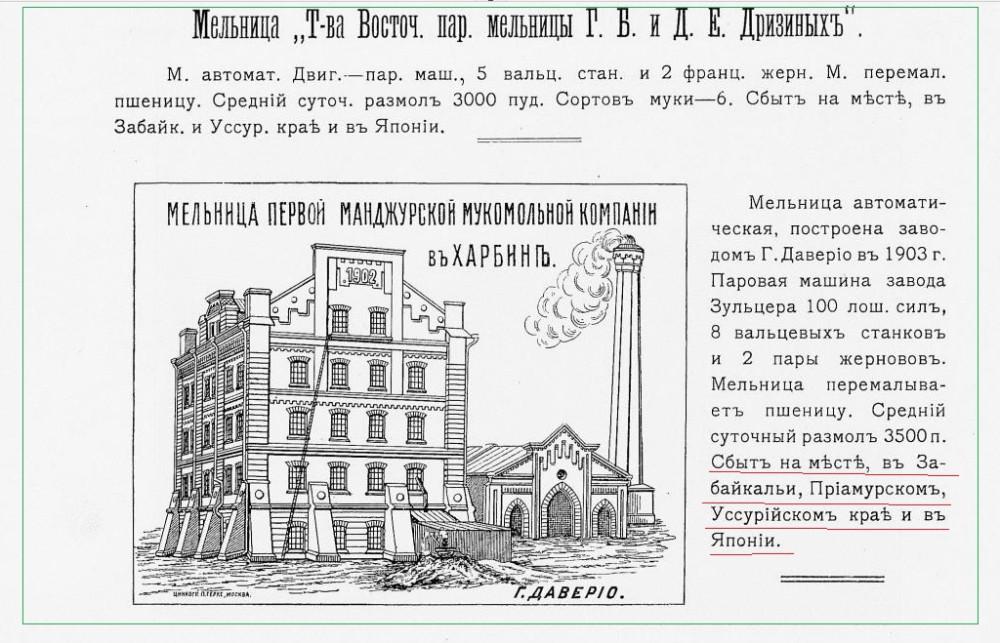 Паровая мельница Г.Б и Д.Е Дризиных в Харбине.