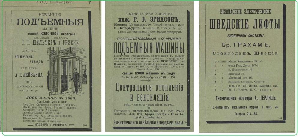 Реклама лифтов из журнала Зодчий за 1910 год.
