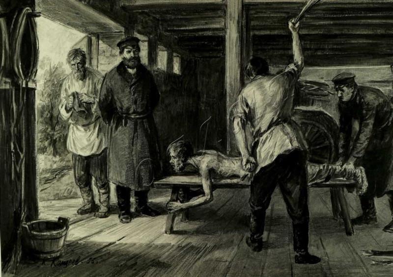 Истязание крестьянина. Гравюра неизвестного автора. Предположительно 18 век.