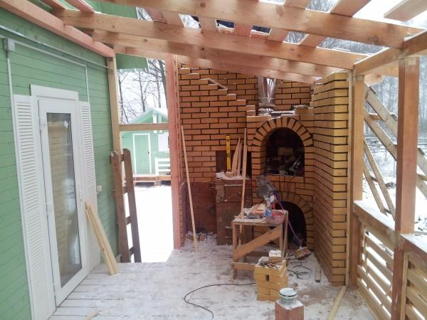 Веранда с мангалом пристроенная к дому своими руками