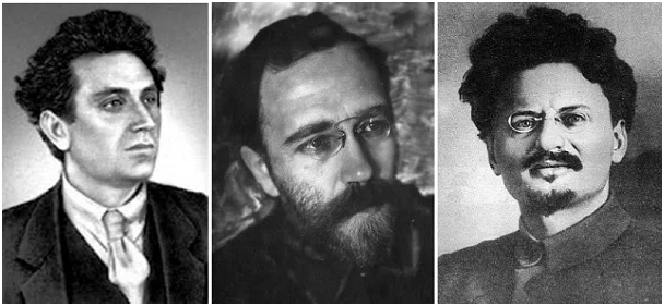 Большевики-евреи слева направо Зиновьв Г. И., Каменев Л.Б., Троцкий