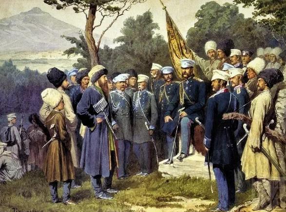 имам Шамиль сдается в плен русскому князю Баратинскому, 1859 год