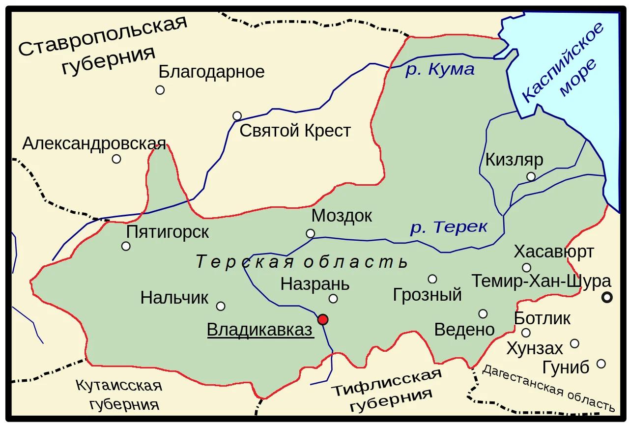 Терская область в 1921 году была ликвидирована (карта взята из открытых источников и оцифрована автором)