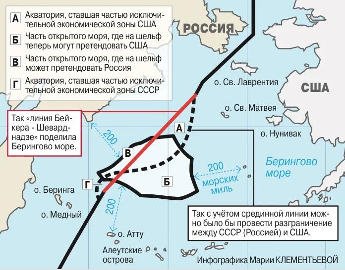Акватория России, которая была передана США в 1990 году (изображение взято из открытых источников)