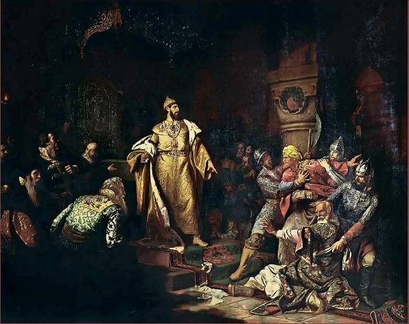 Иоанн III свергает татарское иго, разорвав изображение хана и приказав умертвить послов (картина Н. С. Шустого)