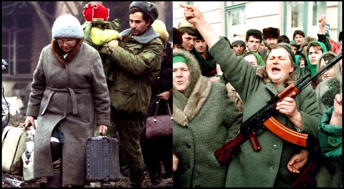 Русские беженцы слева и завербованные чеченцы справа