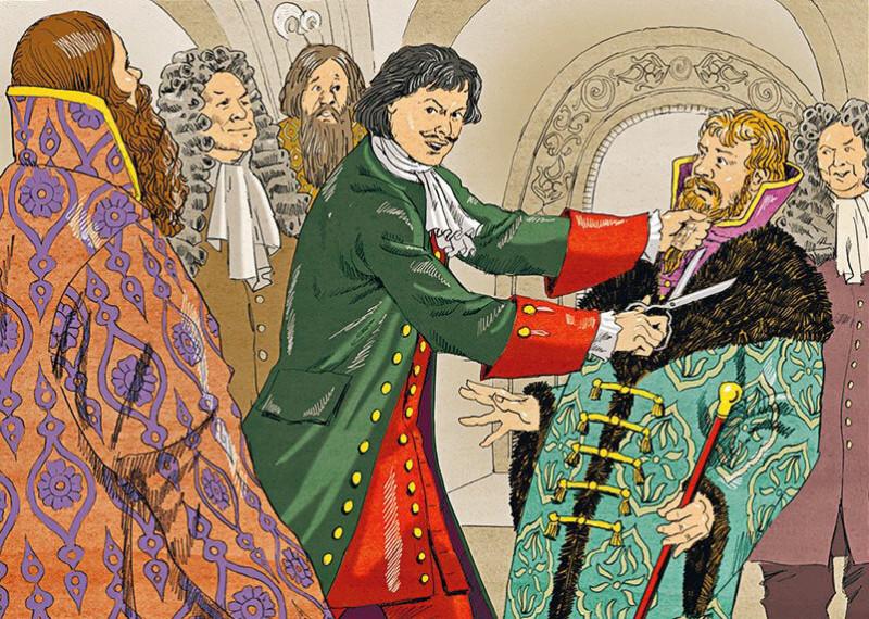 Пётр I сбривает бороды боярам насильственно навязывая западную культуру