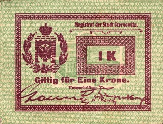 Replacement banknote issued by the Czernowitz town administration 1914