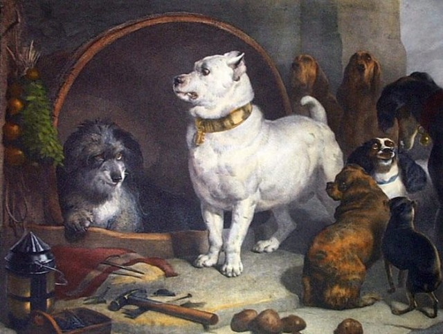 Sir Edwin Landseer. Alexander & Diogenes (King Charles Spaniels, Bloodhounds, Staffordshire Bull Terriers)