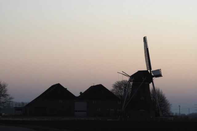 Typical Dutch farm with windmill