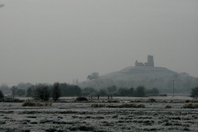 Burrow Mump rising out of the frosty landscape