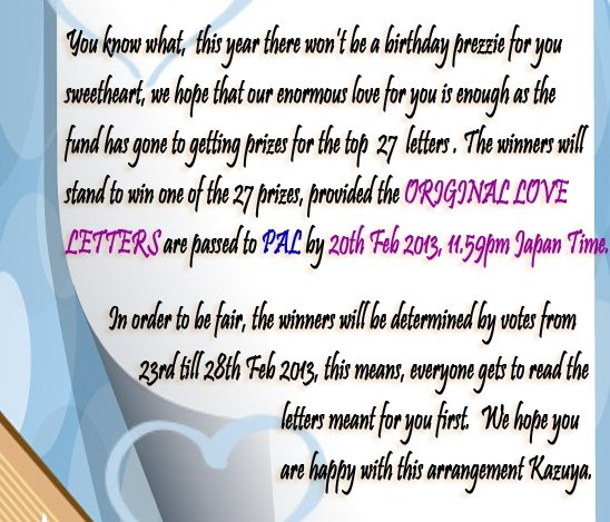 Voting: Original Love Letter - Kazuya Birthday: going_gonin