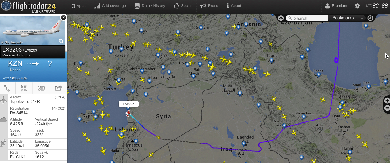 Tu-214R reconnaissance aircraft deployed to Syria