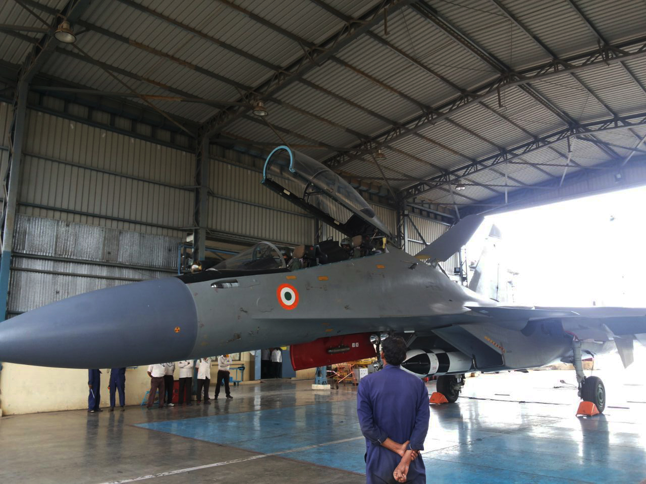 SU-30MKI with BRAHMOS missile before takeoff