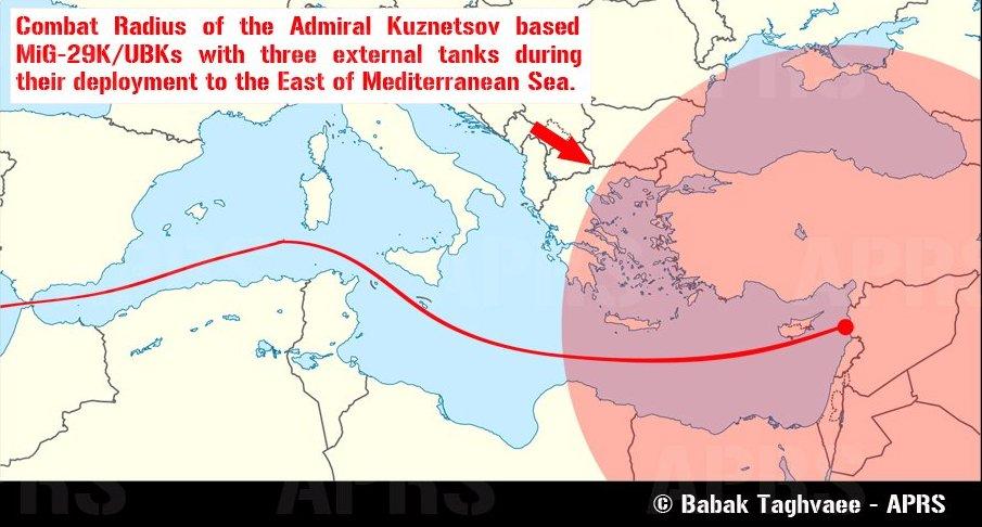 Возможности палубных истребителей МиГ-29К/КУБ при полетах в Восточном Средиземноморье