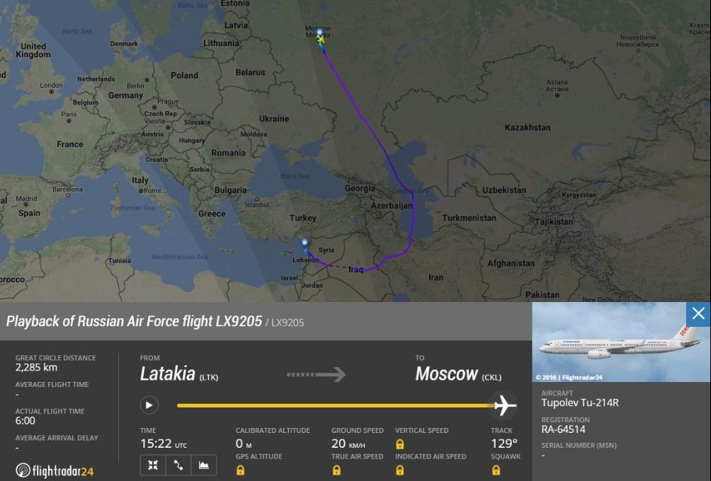 Ту-214Р вернулся из Сирии